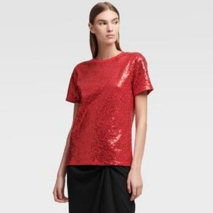 B2G1 NWT DKNY Ruby Red Sequin Crew Neck Tee